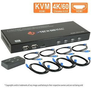J-Tech Digital 4 Port HDMI KVM Switch w/USB/HDMI Cables,Monitor/Control Computer