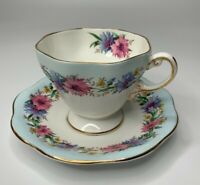 Vintage EB Foley Cornflower Blue Tea Cup & Saucer Gold Trimm Bone China England
