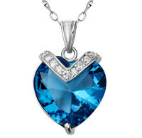 """10.4Ct Blue Topaz Heart Cut Pendant Necklace .925 Sterling Silver w/ 18"""" Chain"""