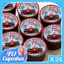 24 X HAPPY BIRTHDAY 75TH F1 RED CUPCAKE TOPPERS PRINTED ON EDIBLE ICING CC7287