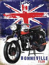 Bonnevil Motorcycle Retro Metal Wall Plaque Art Vintage Advertising Sign mancave