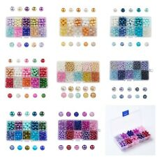 100-1500pc Box Set Mix Colors Painted Crackle Glass & Pearl Beads Jewelry USA