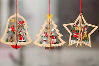 3D Wooden Christmas Tree Hangers Hanging Decoration DIY Xmas Pendants Party Gift