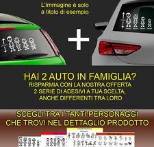 3 + 3 adesivi stickers personalizzati vetri auto famiglia nome bambini cane