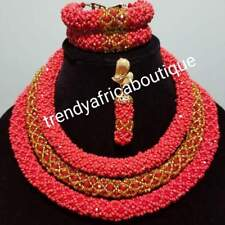 Nigerian traditional wedding Coral beaded-necklace set. 3 rows of red/golf coral