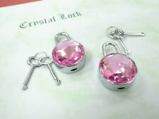 Mini Padlock Key Lock Round Shaped with Pink Gem Stone (Lot of 2)New