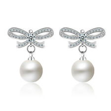 Solid 925 Sterling Silver Pearl Natural Zircon Bowknot Ear Stud Earrings