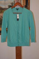 TALBOTS Women's Green SZ S Small Long Sleeve Cardigan Sweater NWT $79.50