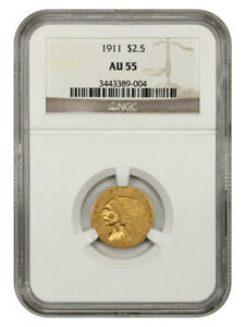 1911 $2 1/2 NGC AU55 - 2.50 Indian Gold Coin
