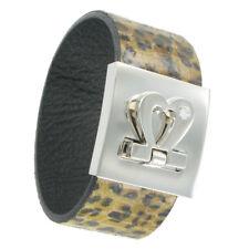 Statement Cuff Bracelet Wrap Leather Leopard Cheetah Animal Print Heart Cuff