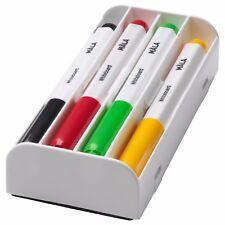 IKEA MALA Whiteboard Pens & Eraser - Assorted Colours -Practical Case- Non-Toxic