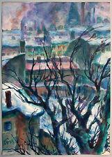 Dresden im Winter, Aquarell 1930er Jahre, Paul Groß 1873-1942 Neue Sachlichkeit