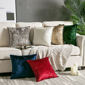 """Plain Crushed Velvet Cushions Covers Luxurious Covers Piped Edges 18"""" 24"""""""
