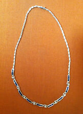 Lovely, Classy & Modern ~ Blue Sapphire, Diamond and White Gold Necklace