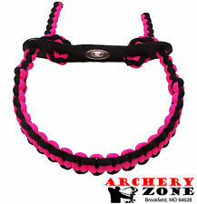 PINK & BLACK Bow paracord wrist sling w/ Leather yoke Free Shipping Archery