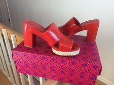Tory Burch womens sandals shoes Varenna Espadrille RED platform slide sz 5 NIB