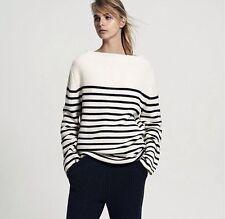 bassike bell sleeve merino wool & cotton stripe knit size 2
