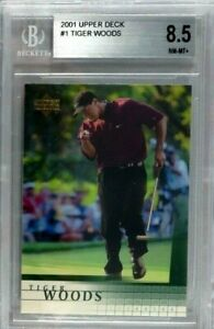 TIGER WOODS RC 2001 UPPER DECK ROOKIE CARD #1 RED SHIRT BGS 8.5