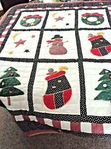 Hand Quilted Holiday Applique Christmas Quilt Throw Blanket Table Wall TreeSkirt