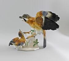 Porzellan Figur große Eichelhäher Gruppe mit Jungem Vogel Ens 25x34cm 9997817#
