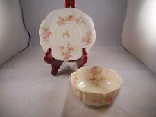 Ramekin or Custard Dish w/ Saucer, Haviland China Limoges, Star Blank 5, Roses