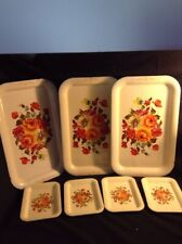 Vintage Rare Color Tole Roses 3 Serving & 4 Tip Trays 7pc/lot