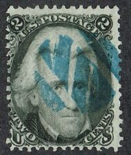 USA 1862 SG69/Sc.73 2c Grey-Black Blue Fancy Cork Cancel Fine Used Cat. £65.00