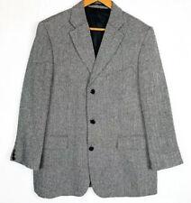 Mens Wool Blend Grey Herringbone Blazer Single Breasted Jacket 44 Chest XL