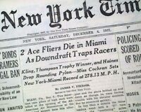 RUDY KLING Airplane Racing Racer Lemont Illinois KILLED w/ Photos 1937 Newspaper