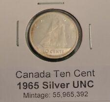 Canada 1965 10 Cent SILVER - Uncirculated from Original Bank Roll