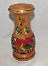 El Salvador Wood Candle Stick Holder Taper Decorated Painted Landscape Flowers