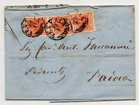 1858 LOMBARDO VENETO CENT.15x3 COPPIA+SINGOLO SU BUSTA DA VENEZIA III°PORTO