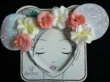 NWT Decree Girl's Plastic Headband w/Pink & White Flowers and Sparkle Ears