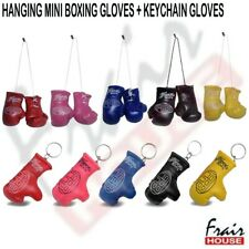 Mini Boxing Gloves Hanging & KeyRing Glove Novelty Gift Van Car Mirror Set