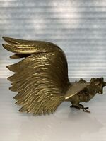 Vintage Mid-Century Brass Fighting Cock/Rooster Statue Figurine Door Stop. As Is