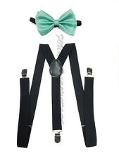 Black Suspender Teal Mint Bow Tie Style Mens &Women Combo Suspender Wedding