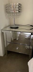 Bedside Table Mirror Glass Silver 2 Drawer Crystal Knobs Harvey Norman AS NEW