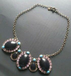 J CREW Vintage Statement Necklace Blue Resin Stones and Pink Rhinestones