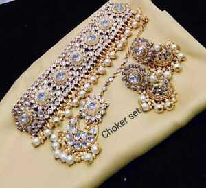 Indian Bollywood Style Kundan Wedding Gold Fashion Pearl Jewelry Necklace Set UP