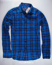 American Eagle Mens Bright Blue Plaid Flannel Shirt SMALL NWT
