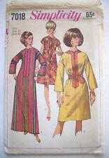 1960's zipper front one piece dress pattern 7018 size 12