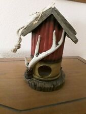 Birdhouse Hunting Shell With Antlers, Old Wood Look Roof- Unique!