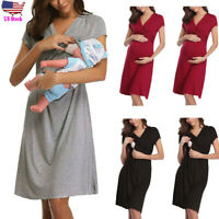 Women Mom Maternity Pregnancy Casual Party Short Sleeve Dress Nursing Nightgown