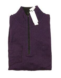 Calvin Klein Big & Tall Men's Purple Merino Wool 1/2 Zip Pullover Sweater