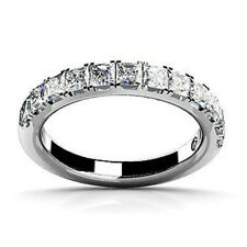 Simulanted Princess Diamond Anniversary Band Ring in solid 10k White Gold Sz-9