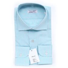 NWT $640 FRAY Teal White Micro Check Spread Collar Cotton Dress Shirt 15 3/4 M