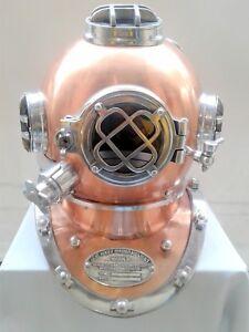 """Antique Diving Helmet U.S Navy Mark V Deep Sea 18"""" Divers Replica"""