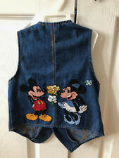 Disney Mickey Mouse Minnie Cross Stitch Childrens Boy Girl Levi Denium Vest sz 4