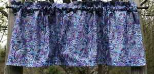 Blue Purple Paisley Metallic Gold Etched Paisley Print Handcrafted Valance w4/25