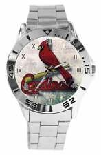 ST LOUIS CARDINALS BASEBALL TEAM LOGO STAINLESS STEEL LINK ANALOG QUARTZ WATCH
